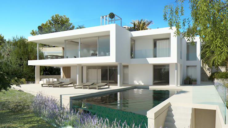 Refurbishment of existing house and pool in Santa Ponsa:  Houses by Tono Vila Architecture & Design