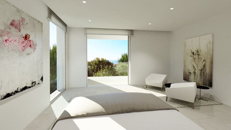 Refurbishment of existing house and pool in Santa Ponsa:  Bedroom by Tono Vila Architecture & Design