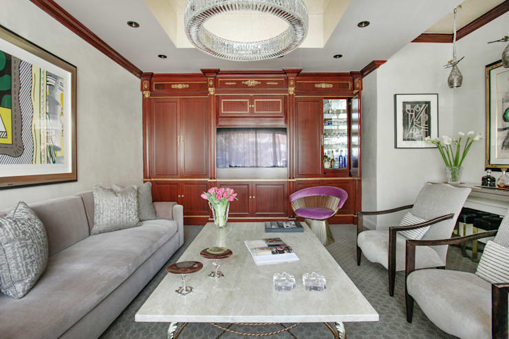 Art Collectors Residence:  Media room by JKG Interiors