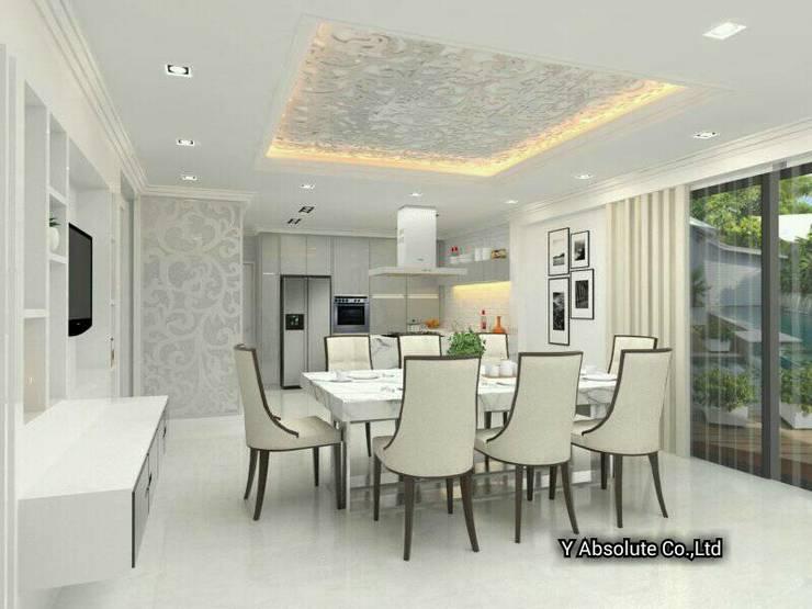 บ้านคุณนันทวัน พระราม2:  ห้องทานข้าว by Y Absolute Co.,Ltd