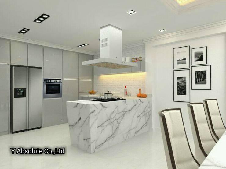 บ้านคุณนันทวัน พระราม2:  ห้องครัว by Y Absolute Co.,Ltd