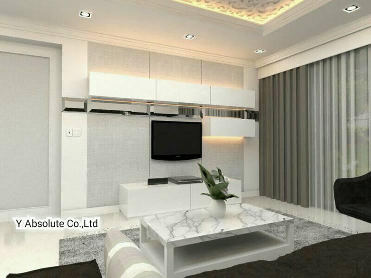 บ้านคุณนันทวัน พระราม2:  ห้องนั่งเล่น by Y Absolute Co.,Ltd