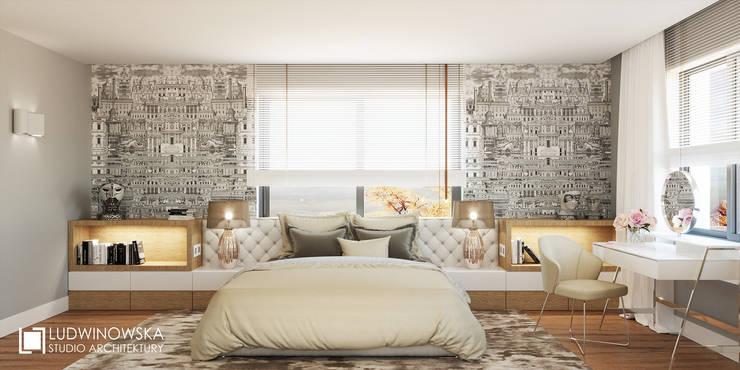 RIFLESSO: styl , w kategorii Sypialnia zaprojektowany przez Ludwinowska Studio Architektury
