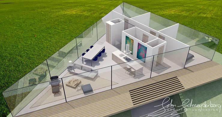 Impressie indeling woonverdieping 3D vogelvlucht:  Woonkamer door Schneijderberg Architectuur & Design, Modern