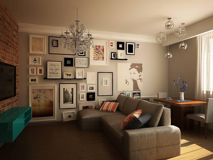 Гостиная: Гостиная в . Автор – anydesign, Эклектичный