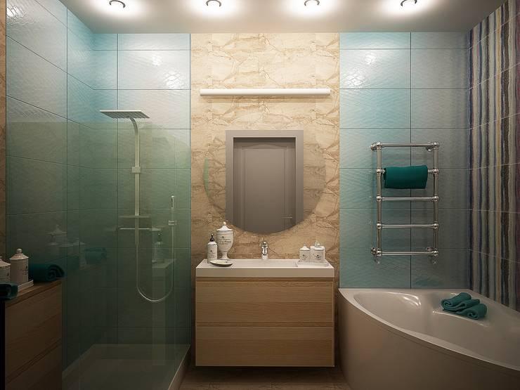Сочетание цвета: Ванные комнаты в . Автор – anydesign, Эклектичный Мрамор