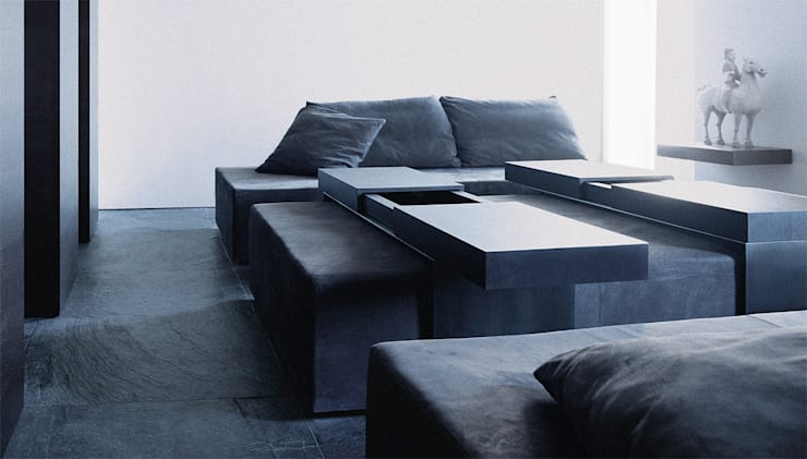 Sofa - Coffee Table:   door Jen Alkema architect, Minimalistisch Houtcomposiet