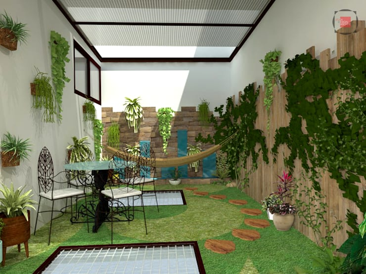 patio interior: Jardines de estilo  por JELKH Design Architects s.a.s