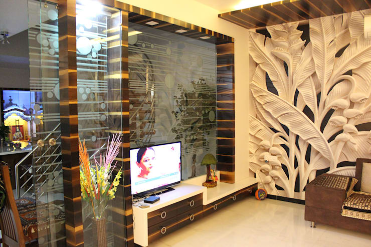Interiors:  Living room by Galaxy infra interior design consultants pvt.ltd
