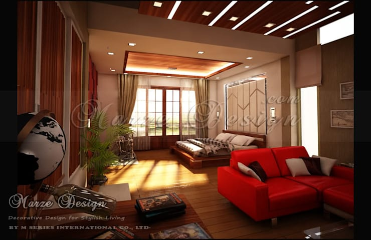 ห้องนอน - Modern Japanese Bedroom:   by Marze Design