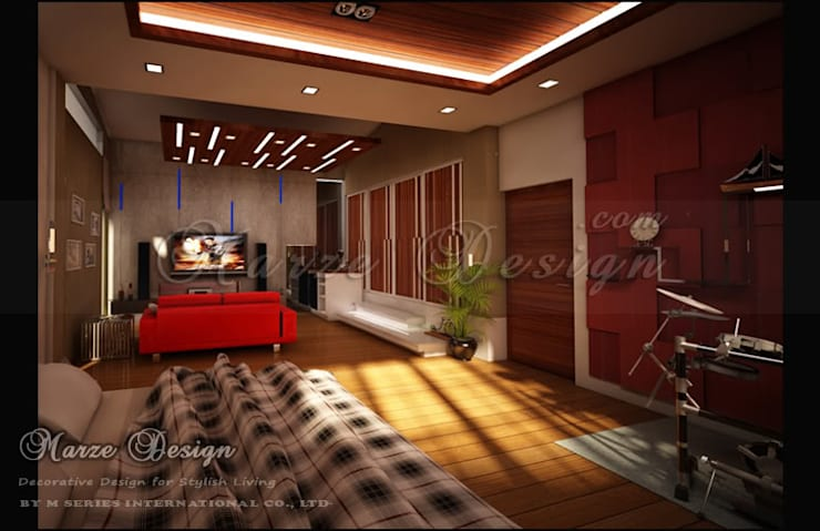 ห้องนอน – Modern Japanese Bedroom:   by Marze Design
