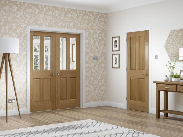 Colonial 4 Panel Oak Internal Door and Malton Oak Rebated Pair:  Windows & doors  by Modern Doors Ltd
