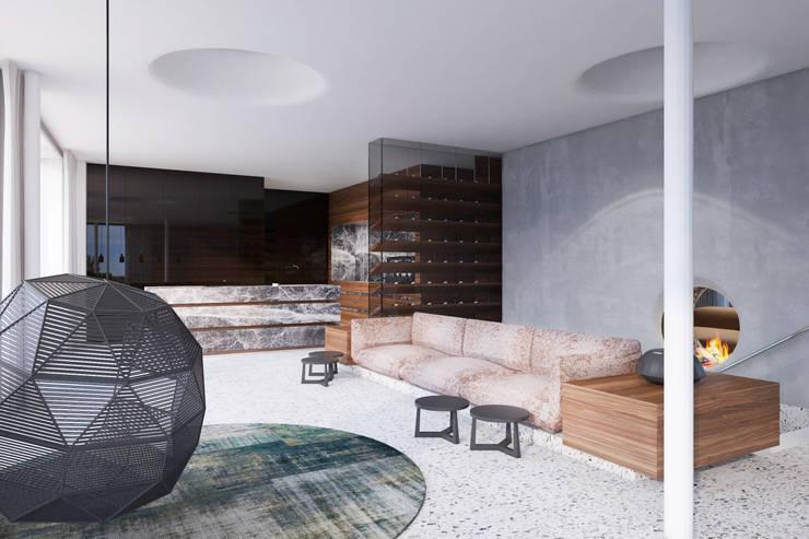 غرفة المعيشة تنفيذ destilat Design Studio GmbH