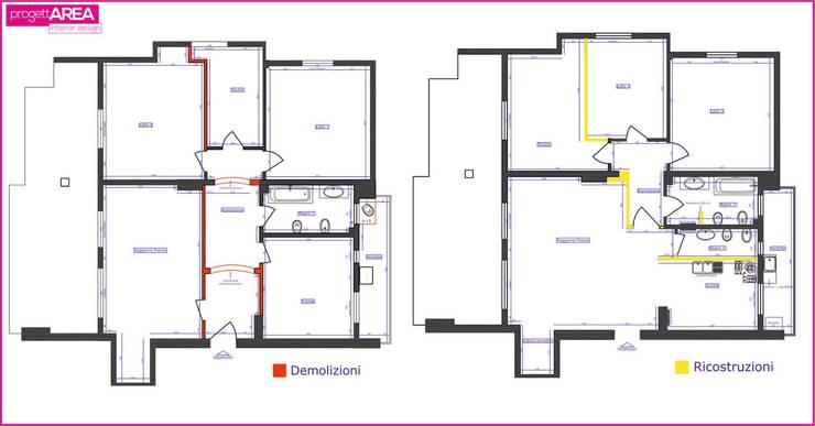 Salas / recibidores de estilo  por progettAREA interni & design