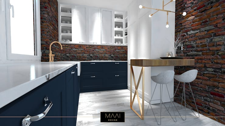 Cegła w kuchni: styl , w kategorii  zaprojektowany przez MAAI Design