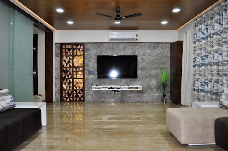 Interior of Nikhil Prajapati:  Living room by Architects at Work