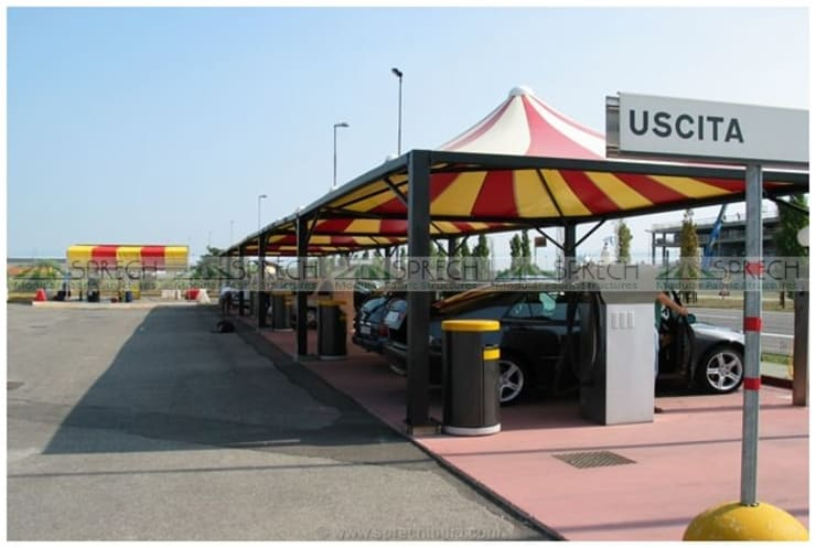 Gas Station Canopy:   by Sprech Tenso-Structures Pvt. Ltd.