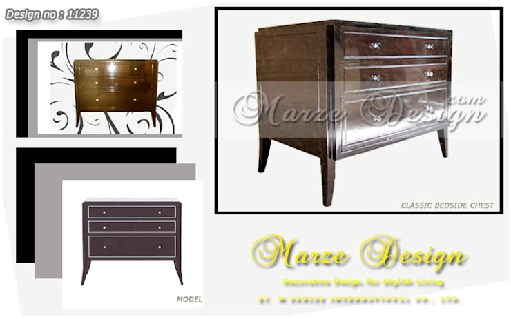 ตู้ลิ้นชักข้างเตียง Timeless Design ทำสีย้อมธรรมชาติ สวย สะดวก และใช้งานได้ดีจริง :   by Marze Design