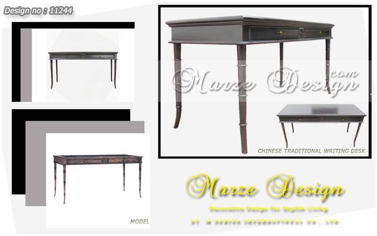 โต๊ะทำงานไม้จริงผ่านการอบไล่ความชื้น:   by Marze Design