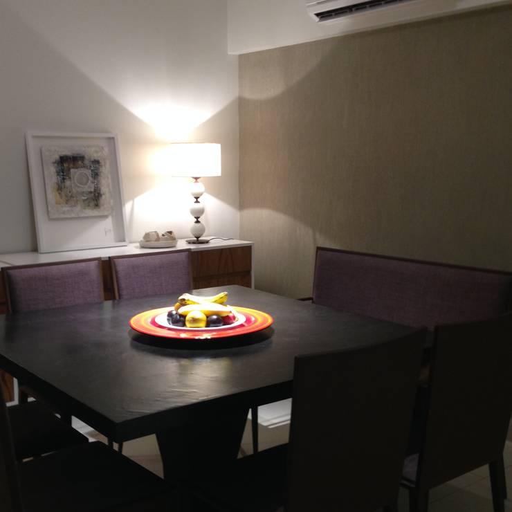 Diseño interior y Equipamiento departamento en Caballito: Comedores de estilo  por CLAMOR CASA Y DECO