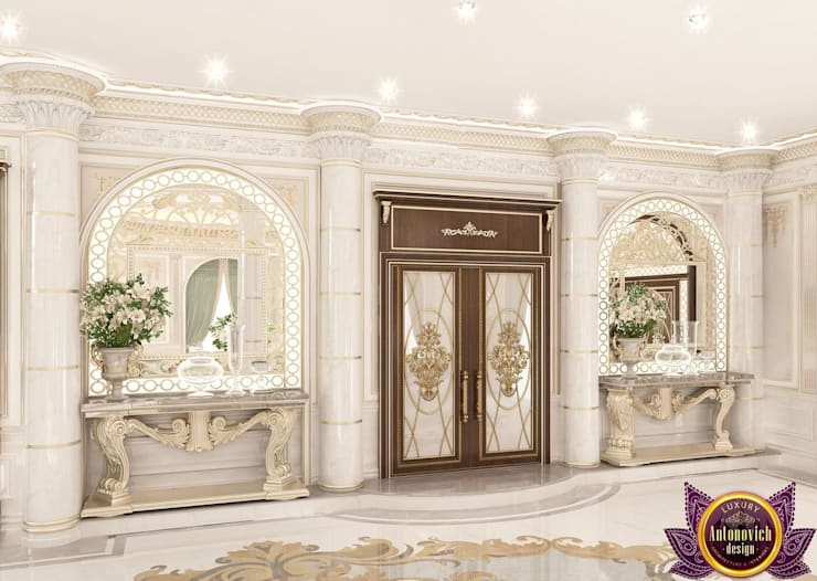 Couloir et hall d'entrée de style  par Luxury Antonovich Design