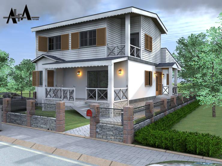 alfa mimarlık – Prefabrik dubleks bina tasarımımız:  tarz Evler