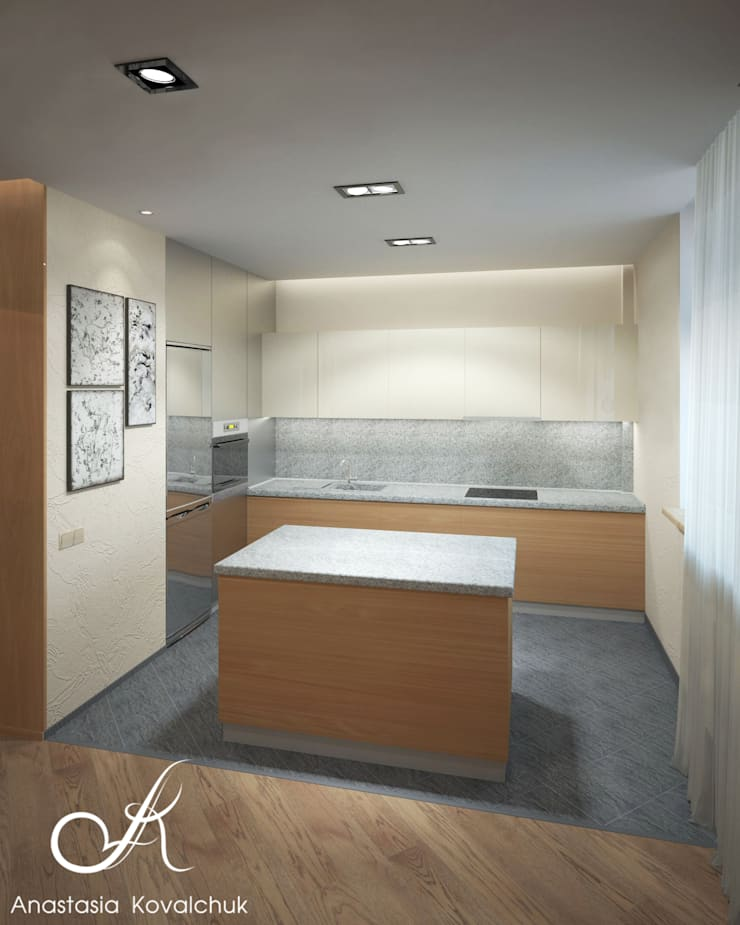 Apartment in Moscow: modern Kitchen by Design studio by Anastasia Kovalchuk