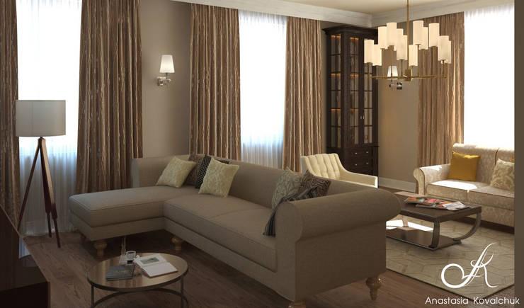 Villa:  Living room by Design studio by Anastasia Kovalchuk