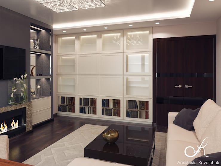 Apartment in Moscow:  Living room by Design studio by Anastasia Kovalchuk
