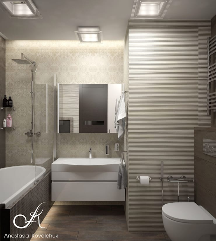 Apartment in Moscow:  Bathroom by Design studio by Anastasia Kovalchuk