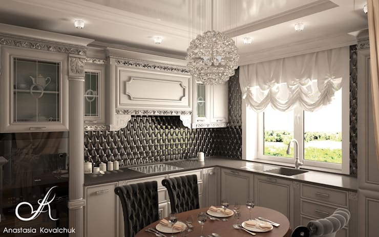 Townhouse in style of an art deco:  Kitchen by Design studio by Anastasia Kovalchuk
