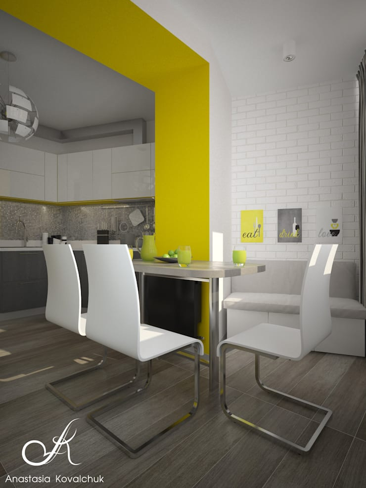 Apartment in a modern style in Moscow:  Kitchen by Design studio by Anastasia Kovalchuk