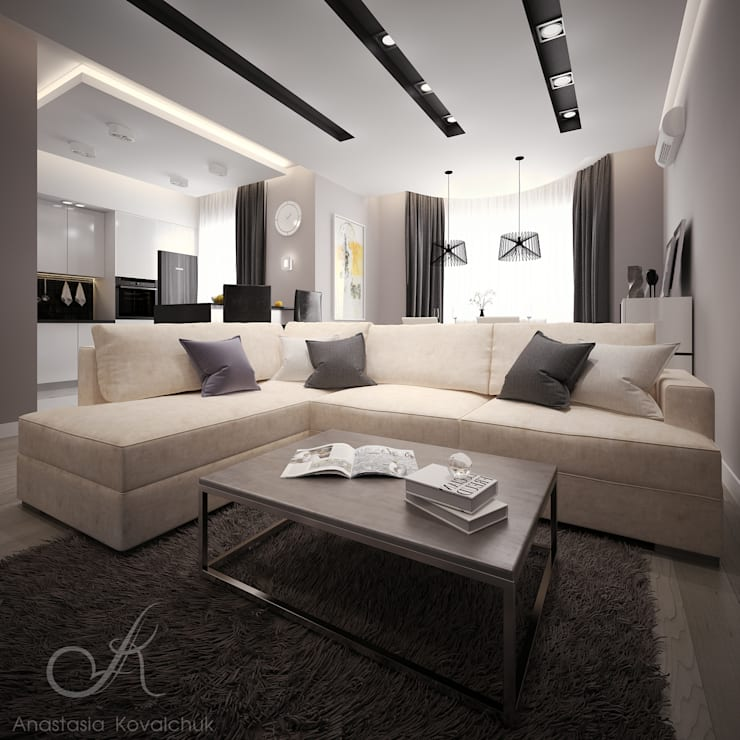Apartment in a modern style in Moscow: modern Living room by Design studio by Anastasia Kovalchuk