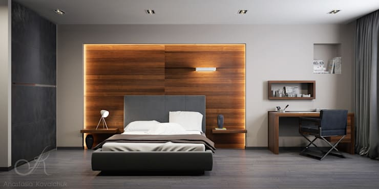 Apartment in a modern style in Moscow:  Bedroom by Design studio by Anastasia Kovalchuk