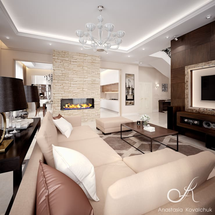 Villa with the pool:  Living room by Design studio by Anastasia Kovalchuk