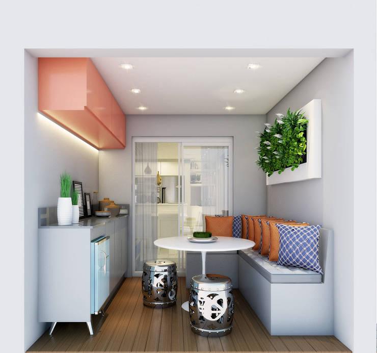 Apartamento Tons da Villa I: Terraços  por Daniela Simões Arquitetura e Interiores