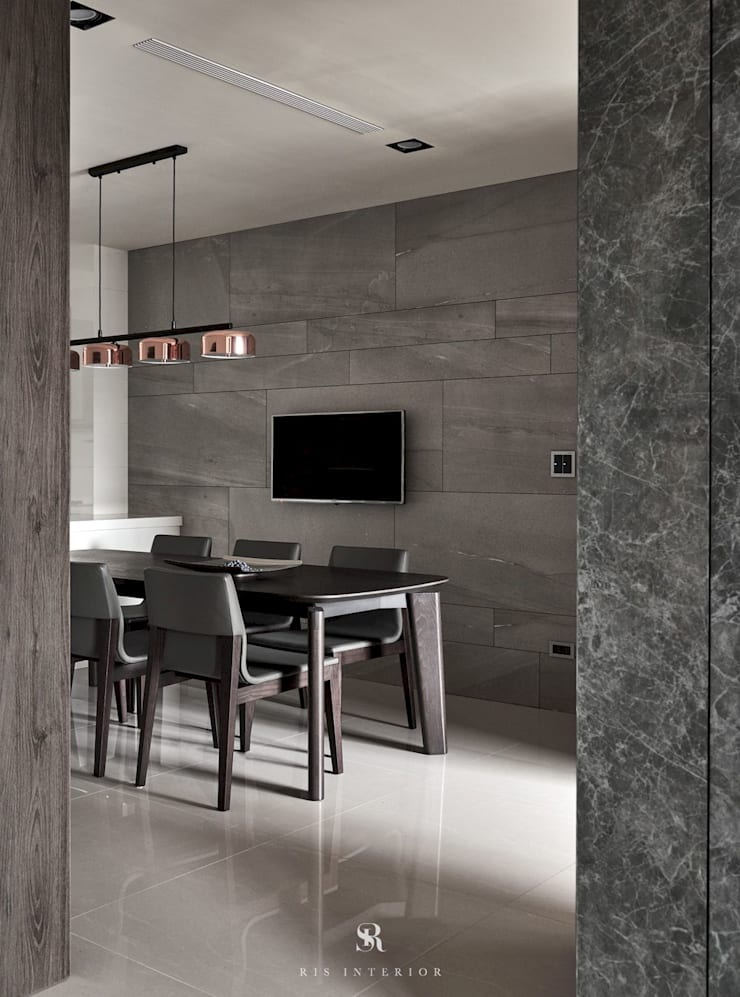 迷迭.灰|Planes of Greyscale:  餐廳 by 理絲室內設計有限公司 Ris Interior Design Co., Ltd.