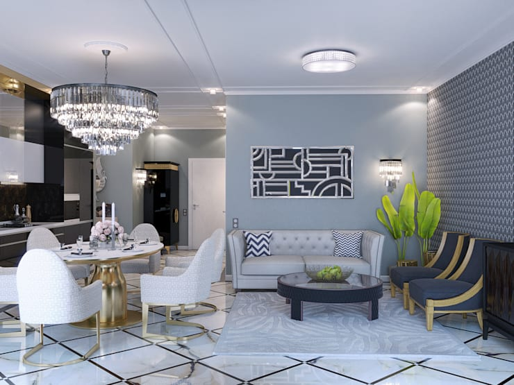 Апартаменты Ар-Деко 126 м: Гостиная в . Автор – Wide Design Group