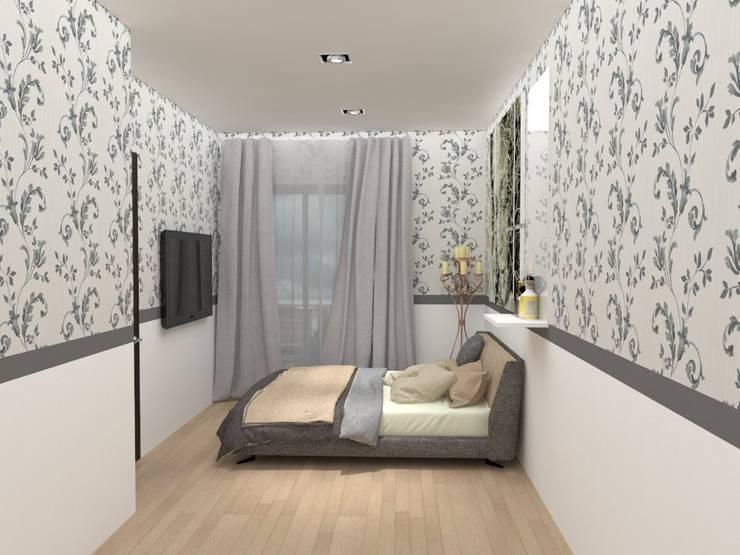 ตกแต่งห้องคอนโด:  ห้องนอน by No.13 Design