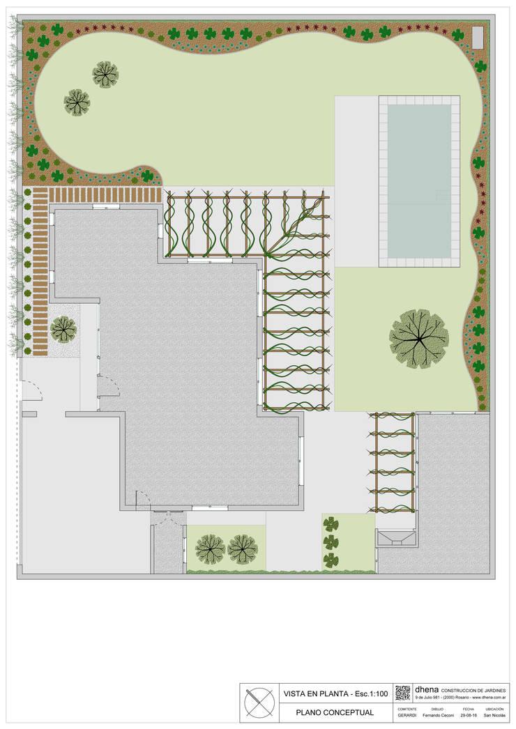 Anteproyecto Jardín Geradi: Jardines de estilo  por Dhena CONSTRUCCION DE JARDINES