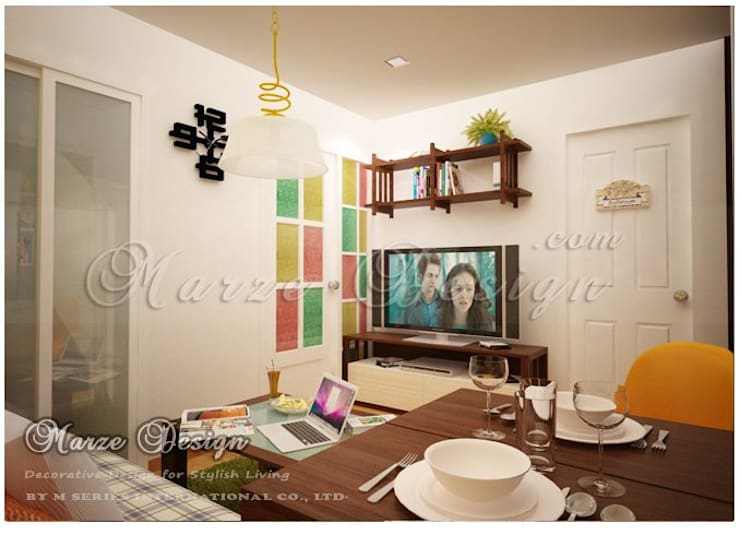 Inspire by Color&functional ; Yellow/Green wall in 30 Sq.m.room:   by Marze Design