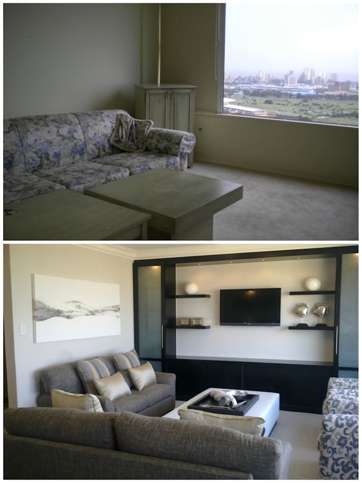 living room - before & after:   by Kirsty Badenhorst Interiors