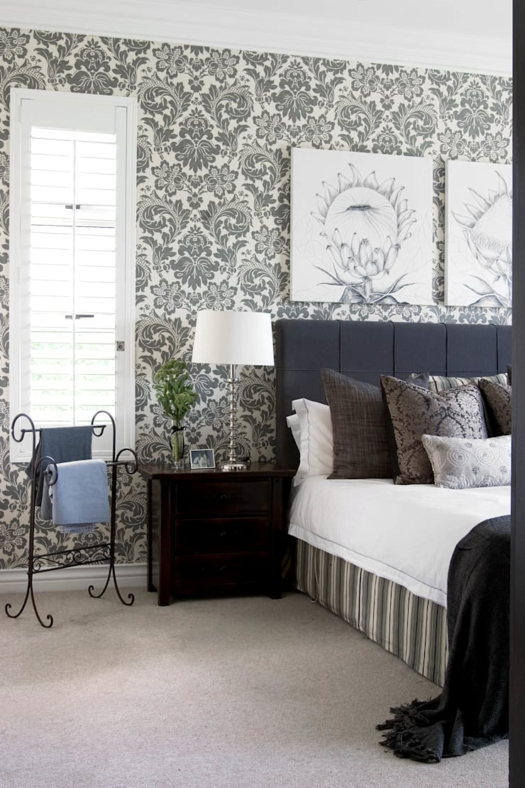 Bold wallpaper:  Bedroom by Peter Thomas Interiors