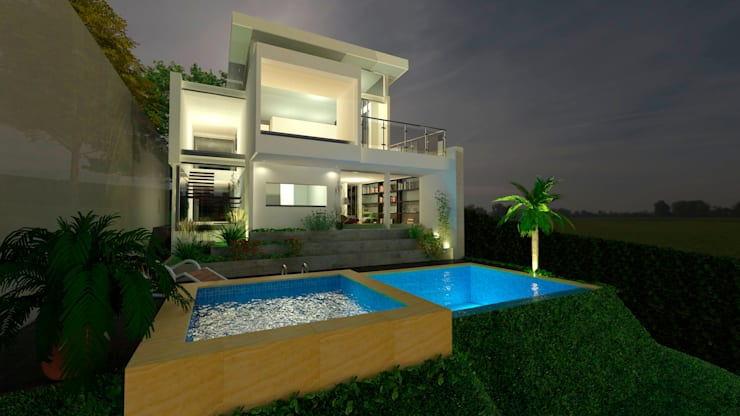 Exterior nocturno: Casas de estilo  por Studio 21.11