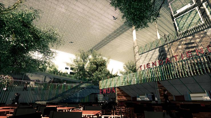 Boulevard 5 de Julio: Estación Intermodal Nodo 5 de Julio/Delicias. : Espacios comerciales de estilo  por Pertopia
