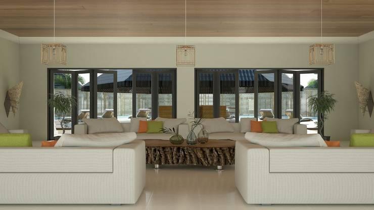 Larger Social Living Room:  Living room by Linken Designs ,