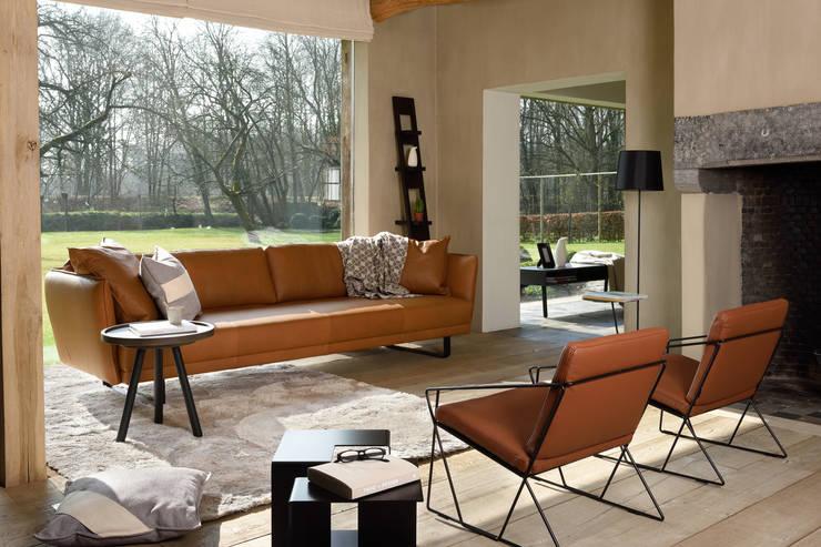 VIC in cognackleurig leder - AUDE fauteuils - JIGSAW bijzettafel - JON tafel/dienblad - LEAN rack - SHADES tapijt - TAG kussens:  Woonkamer door MOOME