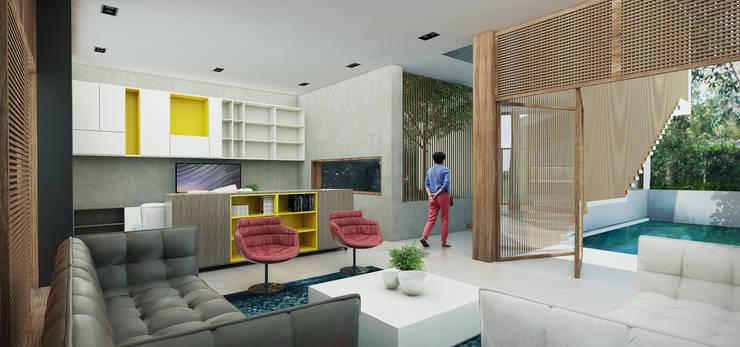 Casa Caracolí: Salas de estilo moderno por Contrafuerte Arquitectura