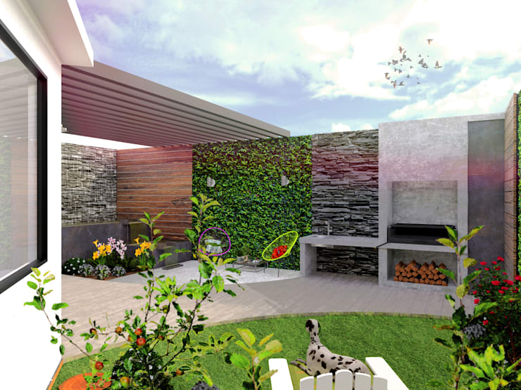 Jardines de estilo  por Kontrast Arquitectos