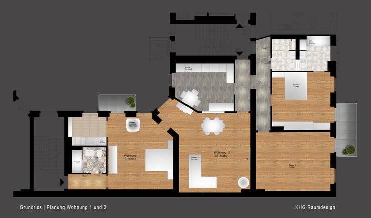 Wohnung 1 und 2 Grundriss - Berlin Prenzlauer Berg:   von KHG Raumdesign - Innenarchitektin in Berlin